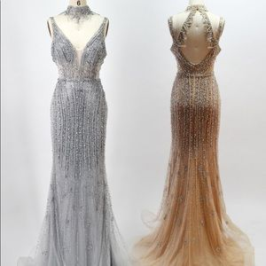 Dresses & Skirts - Silver Beaded Evening Gown